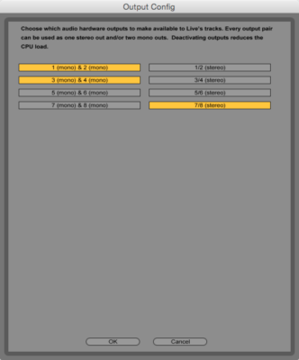 Live's I/O configuration panel