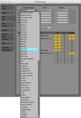 Control surface selection in Ableton Live.