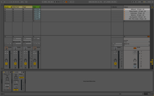 Scenes highlighted in Ableton Live's session view.