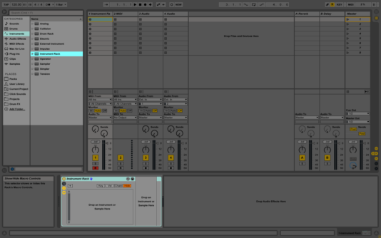 Live's Instrument Rack in session view.