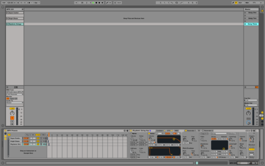 Final session view of the Instrument Rack with MIDI assignment.