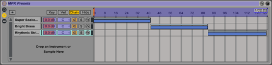 MIDI map view of a Chain List's Zones.