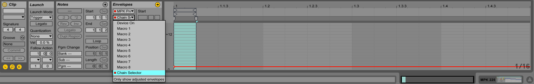 The automation view of a MIDI clip.